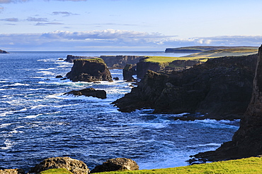 Eshaness, jagged cliffs, stacks, geos and blow holes, Northmavine, Mainland, Shetland Isles, Scotland, United Kingdom, Europe