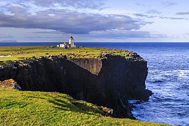 Eshaness Lighthouse, Stevenson, 1929, cliff top boulders, Northmavine, Mainland, Shetland Isles, Scotland, United Kingdom, Europe