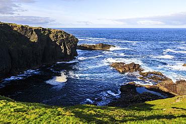 Frothy seas, Eshaness, jagged cliffs, stacks, geos and blow holes, Northmavine, Shetland Isles, Scotland, United Kingdom, Europe