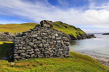 Isle of Fethaland, major Haaf Fishing Station, ruined fishermen's huts, East Ayre, North Mainland, Shetland Isles, Scotland, United Kingdom, Europe