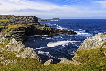 Isle of Fethaland, frothy sea, dramatic coast, view South to Isle of Uyea, North Roe, North Mainland, Shetland Isles, Scotland, United Kingdom, Europe