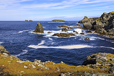 Isle of Fethaland, frothy sea, stacks, cliffs, Isle of Gruney , Ramna Stacks, North Roe, Mainland, Shetland Isles, Scotland, United Kingdom, Europe