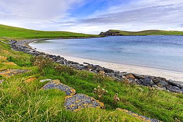 Minn Beach, Banna Minn, white sand, turquoise sea, Papil, West Burra Island, Shetland Isles, Scotland, United Kingdom, Europe