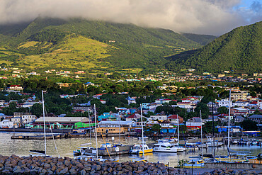 Basseterre, sunrise, elevated view from the sea, Basseterre, St. Kitts, St. Kitts and Nevis, Leeward Islands, West Indies, Caribbean, Central America