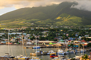 Basseterre, sunset, elevated view, St. Kitts, St. Kitts and Nevis, Leeward Islands, West Indies, Caribbean, Central America