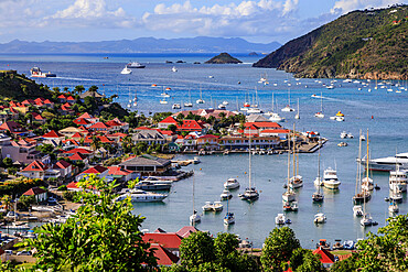 Elevated view over pretty red rooftops of town and sea, Gustavia, St. Barthelemy (St. Barts) (St. Barth), West Indies, Caribbean, Central America