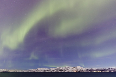 Northern Lights (Aurora Borealis) over mountains of Altafjord in winter, Alta, Troms og Finnmark, Arctic Circle, North Norway, Scandinavia, Europe