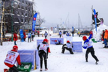 Yukigassen, snowball fight, Winter team sport, heavy snow, Central Tromso, Troms og Finnmark, Arctic Circle, North Norway, Scandinavia, Europe