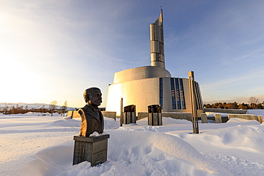 Northern Lights Cathedral, titanium clad, deep snow in winter, sunset golden hour, Alta, Troms og Finnmark, Arctic Circle, Norway, Scandinavia, Europe