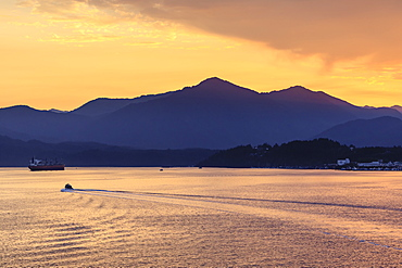 Sunrise over Prince Rupert, from the sea, Kaien Island, Inside Passage, North West British Columbia, Canada, North America