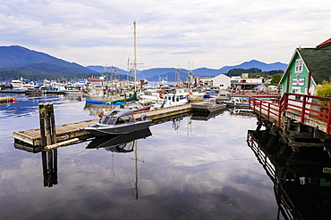 Cow Bay harbour reflections, Prince Rupert, Kaien Island, Inside Passage, North West British Columbia, Canada, North America