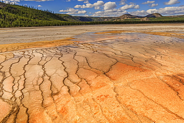 Grand Prismatic Spring with a view towards Twin Buttes, Midway Geyser Basin, Yellowstone National Park, UNESCO World Heritage Site, Wyoming, United States of America, North America
