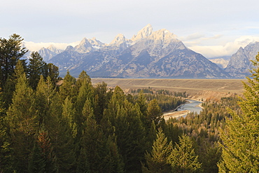 Hazy Teton Range from Snake River Overlook in autumn (fall), Grand Teton National Park, Wyoming, United States of America, North America