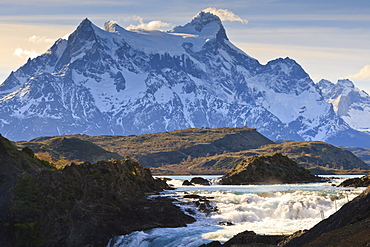 Salto Chico and Cordillera del Paine, Torres del Paine National Park, Patagonia, Chile, South America