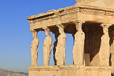 Porch of the Maidens (Caryatids), Erecthion, early morning, Acropolis, UNESCO World Heritage Site, Athens Greece, Europe