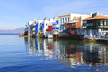 Little Venice reflections, Mykonos Town (Chora), Mykonos, Cyclades, Greek Islands, Greece, Europe