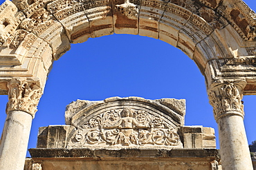 Detail of the Temple of Hadrian, Roman ruins of ancient Ephesus, near Kusadasi, Anatolia, Turkey, Asia Minor, Eurasia