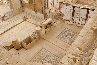 Elevated view of mosaics, murals and frescoes in a Terrace House, Curetes Street, Ephesus, near Kusadasi, Anatolia, Turkey, Asia Minor, Eurasia