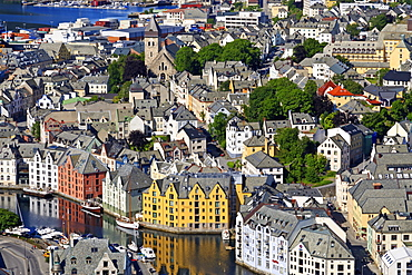 View from Aksla hill over the Art Nouveau buildings of Alesund, More og Romsdal, Norway, Scandinavia, Europe