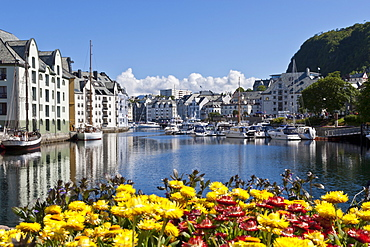 Boats and Art Nouveau buildings with waterside summer flowers, Alesund, More og Romsdal, Norway, Scandinavia, Europe