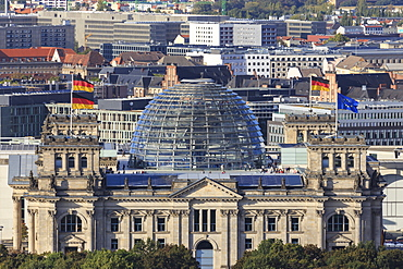 Elevated view, Reichstag from Panoramapunkt viewing platform, Kollhoff Building, Potsdamer Platz, Berlin, Germany, Europe