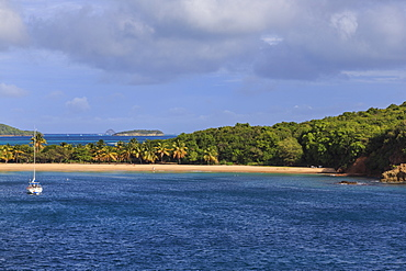 Elevated view across beach at Saline Bay to windward side and Tobago Cays, Mayreau, Grenadines of St. Vincent, Windward Islands, West Indies, Caribbean, Central America