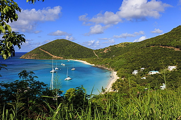 Elevated view of White Bay beaches and yachts, Jost Van Dyke, British Virgin Islands, West Indies, Caribbean, Central America