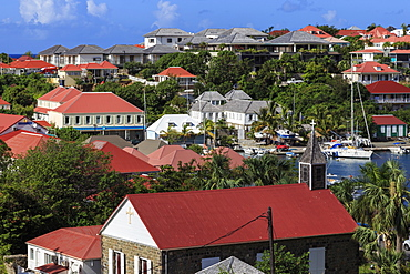 Elevated view of Anglican church and harbour, Gustavia, St. Barthelemy (St. Barts) (St. Barth), West Indies, Caribbean, Central America