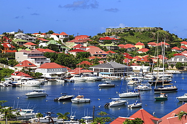 Elevated view of Fort Oscar and harbour, Gustavia, St. Barthelemy (St. Barts) (St. Barth), West Indies, Caribbean, Central America