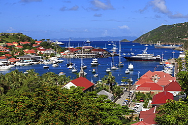 Elevated view of Fort Oscar, Anglican church and yachts in harbour, Gustavia, St. Barthelemy (St. Barts) (St. Barth), West Indies, Caribbean, Central America