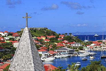Elevated view, Catholic church, Fort Oscar and harbour, Gustavia, St. Barthelemy (St. Barts) (St. Barth), West Indies, Caribbean, Central America