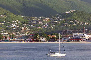 Philipsburg waterfront and beach in the early morning, with yacht, St. Maarten (St. Martin), West Indies, Caribbean, Central America