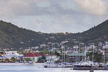 Marina and waterfront at dawn, Philipsburg, St. Maarten (St. Martin), West Indies, Caribbean, Central America