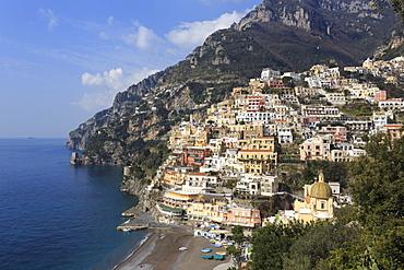 Elevated view of Positano beach and cliffs, Costiera Amalfitana (Amalfi Coast), UNESCO World Heritage Site, Campania, Italy, Europe