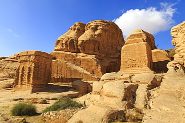 Djinn Blocks, Bab as-Siq (Entrance to the Siq), Petra, UNESCO World Heritage Site, Jordan, Middle East
