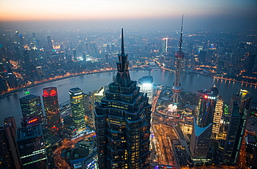 Shanghai Pudong with Jin Mao Tower, Oriental Pearl Tower, Huangpu River and Puxi cityscape, Shanghai, China, Asia