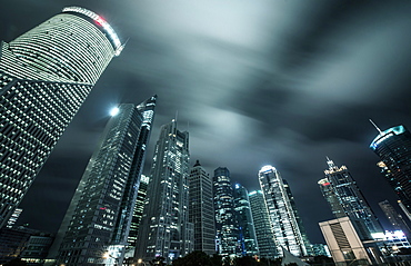 Lujiazui skyscrapers in a nightly long exposure, Shanghai, China, Asia