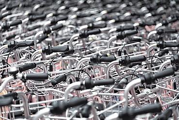 A sea of identical bike handles, China, Asia - 1171-262