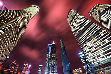 Dramatic low perspective view of skyscrapers in Shanghai Pudong (Lujiazui), Shanghai, China, Asia
