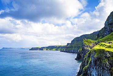 Cliffs on the Antrim coast overlooking the Irish Sea, Ulster, Northern Ireland, United Kingdom, Europe