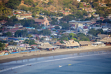 Elevated view of the beach and surf resort of San Juan del Sur, El Salvador, Central America
