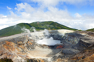 Crater of the Poas volcano, San Jose, Costa Rica, Central America
