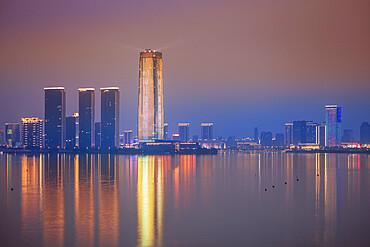 View of Yixing City at night, Jiangsu province, China, Asia