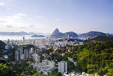 View of Sugar Loaf mountain (Pao de Acucar) and Botafogo neighbourhood, Botafogo, Rio de Janeiro, Brazil, South America