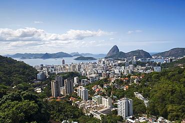View of Sugar Loaf mountain (Pao de Acucar) and Botafogo neighbourhood, Botafogo, Rio de Janeiro, Brazil, South America