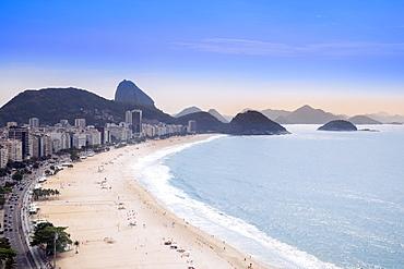 Elevated view of the beach and the Atlantic Ocean, Copacabana, Rio de Janeiro, Brazil, South America