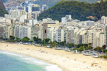 Elevated view of Copacabana Beach and apartment blocks in the neighborhood, Rio de Janeiro, Brazil, South America