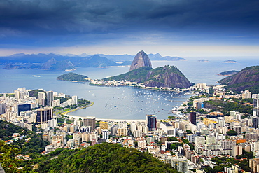 Elevated view of Sugar Loaf mountain and Botafogo beach and bay, Botafogo, Rio de Janeiro, Brazil, South America