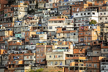 View of houses in the Cantagalo favela slum in Rio de Janeiro, Brazil, South America