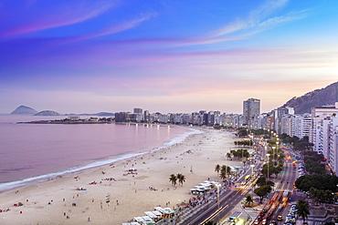 View of Copacabana Beach and Avenida Atlantica boulevard in Rio de Janeiro, Brazil, South America
